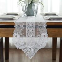 Lace Embroidery Table Runner White Floral Guipure Table Cloth Wedding Chic Decor