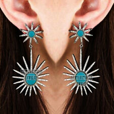 Studded Silver Lovely Earring Jewelry Vintage 3.62Cts Rose Cut Diamond Turquoise