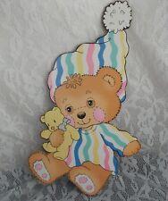Vintage 80's Teddy Beddy Bear Baby Nursery Wall Decor Pressed Cardboard