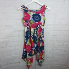 The Children's Place Girls Dress Size 7/8 M Curved Hem Blue Pink White Floral