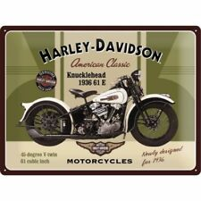 Harley Davdson Knucklehead 1936 embossed metal sign 30cm x 40cm