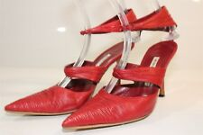 Manolo Blahnik Italy Made Womens 39 9 Red Leather Ankle Strap Heels Shoes je
