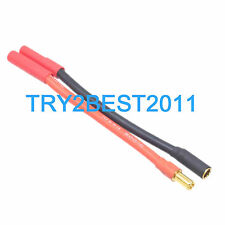 5.5MM LiPo Bullet Connector to 4mm 10AWG Silicon Wire HXT 5.5 to 4mm Adapter