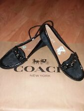 COACH Fortuntata Black Jacquard w/Patent Leather Trim Loafers Women's Shoes