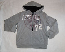 Boys SHERPA lined HOODIE SWEAT JACKET XS 4-5 GRAY Phys Ed Dept SPORTS