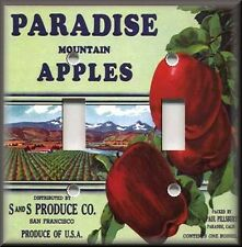 Metal Light Switch Plate Cover - Vintage Fruit Crate Home Decor Paradise Apples