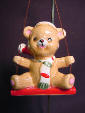 Vtg Cermaic Lefton China Teddy Bear Doll Ornament Swing Mini Xmas Figurine Old