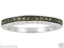 FANCY GREEN DIAMOND  STERLING SILVER HALF ETERNITY BAND RING NEW FREE USA SHIP 7