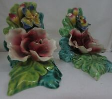 UNMARKED AUSTRALIAN POTTERY STUDIO ART FLORAL ROSE BOOKENDS AS FOUND