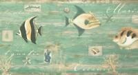 Wallpaper Border Tropical Fish Shells Sea Life on Teal Faux with Green Trim