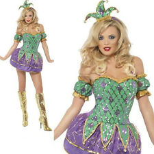 Ladies Harlequin Shine Clown jester dressing up costume adult sexy adult party