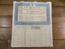 ACTION / TITRE LA RURALE 1930 STOCK BOND