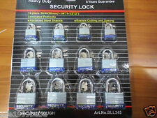 Lot of 12pcs 30-40-50 mm Heavy Duty Laminated Padlock/ Every 4 Keyed Alike