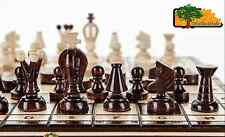 KINGDOM DRAUGHTS - 35cm / 14in Handcrafted Wooden Chess Set with Checkers