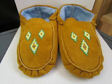 COMFY NATIVE AMERICAN MOCCASINS, 10 INCHES, GORGEOUS GREEN/YELLOW DIAMOND BEADS