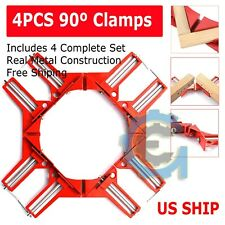 4X Metal Set DIY 90° Right Angle Clip Clamps Corner Holder Woodworking Hand Tool