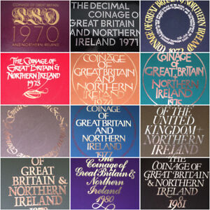 ROYAL MINT PROOF COIN YEAR SETS 1970 TO 1982 BIRTHDAY COIN YEAR SET