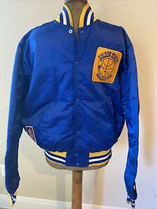 RARE! Vintage STARTER NBA Golden State Warriors Satin Jacket Coat Size Large
