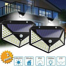 2 X FARETTI  LAMPADA LUCE FARO ESTERNO ENERGIA SOLARE 100 LED SENSORE MOVIMENTO
