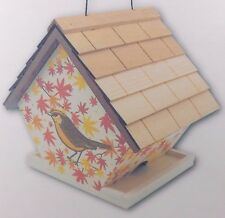 NEW Home Bazaar Hanging Cottage Bird Feeder Carolina Wren with Maple Leaves Wood