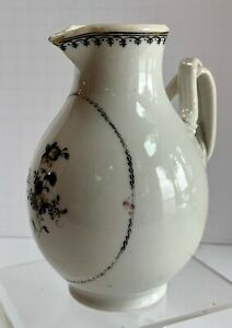 Chinese Export Grisaille Floral Lowestoft Cream Pitcher Jug Spearhead Porcelain