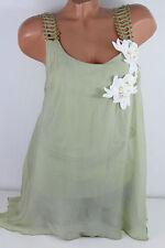 38 40 Traumhafte Bluse Top Seide goldene Träger Blüten Strass Perle  Oliv