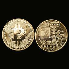 Gold Plated Bitcoin Coin Collectible Gift BTC Coin Art Collection Physical