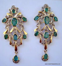 victorian diamond emerald 14k gold silver earrings