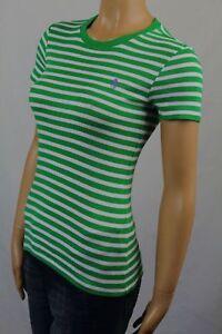 Ralph Lauren Green Cream Short Sleeve Knit Top Shirt Crewneck NWT