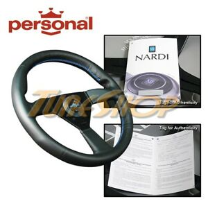 ITALY PERSONAL NEO EAGLE 340MM STEERING WHEEL BLACK LEATHER BLUE STICHING HORN