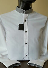 Men's Cotton Blend Button Cuff Grandad Collar Formal Shirts