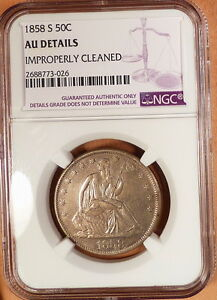 1858-S Liberty Seated Half, NGC graded AU Details, Cleaned, Much Better Date!!
