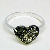 Baltic Amber Ring-Green Amber-925 Sterling silver-N UK-6 1/2 US size-Heart Shape