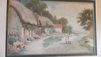 F H  Stewart  Antique Old Original Signed Watercolour Of Village Scene