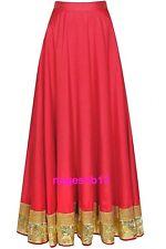 Indian Long Skirt, Bollywood Skirt, Red Cotton Skirt with Border, Dance Skirts