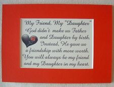 MY FRIEND STEPDAUGHTER God Gave My DAUGHTER IN LAW frm Father verses poem plaque
