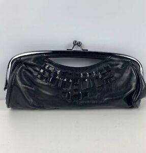 WOMENS NEW LOOK BLACK BEAD DETAIL EVENING OCCASION CLUTCH BAG HANDBAG PURSE
