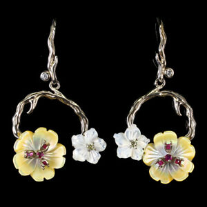 Round Red Ruby Mop Cz 14K White Gold Plate 925 Sterling Silver Flower Earrings