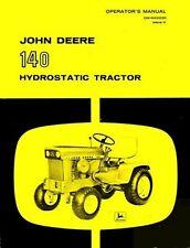 John Deere 140 Hydro Hydrostatic Garden Tractor Owner Operators Manual JD