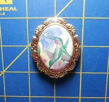 Framed Ceramic Pretty Hummingbird~Magnetic Needle Minder Tool