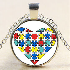 Necklace Heart Autism awareness #458 Cabochon Glass Silver Charm vintage