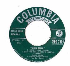 """PAUL ANKA.ANKA AGAIN.UK ORIG EP.""""NO PIC/SLEEVE"""".VG"""