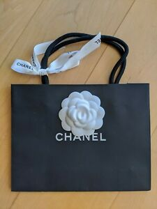 CHANEL PAPER SHOPPING GIFT BAG WITH CAMELLIA RIBBON SMALL SIZE