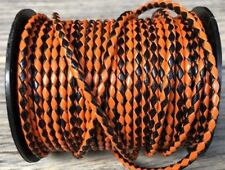 6mm Braided Bolo Leather Cord Orange and Black Halloween Leather By The Yard