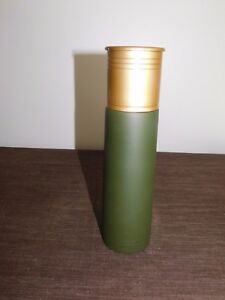 "10"" HIGH METAL/PLASTIC SHOTGUN SHELL BULLET THERMOS UNUSED"