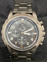 Fossil FS4721 Men's Watch Chronograph Black Dial Smoke Grey Ion Plated 45mm O810