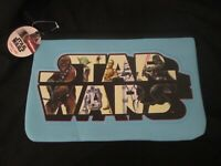 STAR WARS Blue Neoprene Pencil Case 33 x 21cm School Stationary BRAND NEW