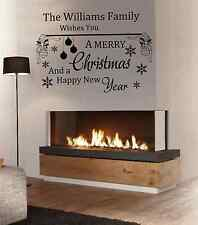 PERSONALISED MERRY CHRISTMAS Wall Art Sticker Decal removable living room