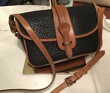 Dooney Bourke All Weather Leather Equestrian Crossbody Bag Navy Blue British Tan