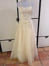 NWT Cream Yellow Formal beaded chiffon lined halter dress gown wedding sequins 4
